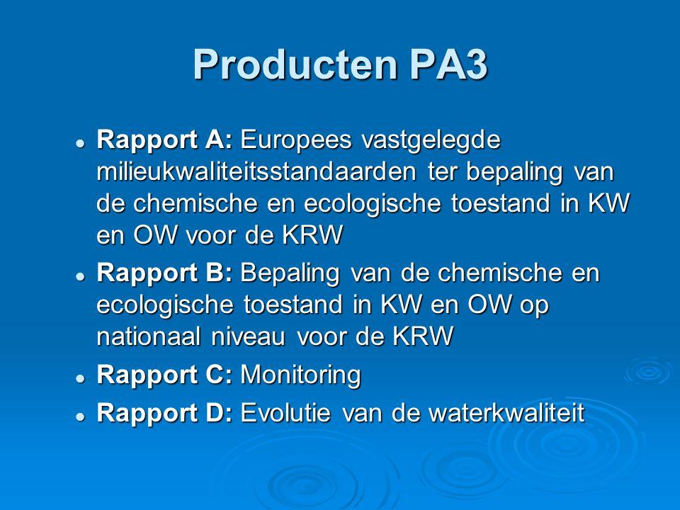 Producten PA3 Rapport A: Europees vastgelegde milieukwaliteitsstandaarden ter bepaling van de chemische en ecologische toestand in KW en OW voor de KRW Rapport A: Europees vastgelegde milieukwaliteitsstandaarden ter bepaling van de chemische en ecologische toestand in KW en OW voor de KRW Rapport B: Bepaling van de chemische en ecologische toestand in KW en OW op nationaal niveau voor de KRW Rapport B: Bepaling van de chemische en ecologische toestand in KW en OW op nationaal niveau voor de KRW Rapport C: Monitoring Rapport C: Monitoring Rapport D: Evolutie van de waterkwaliteit Rapport D: Evolutie van de waterkwaliteit