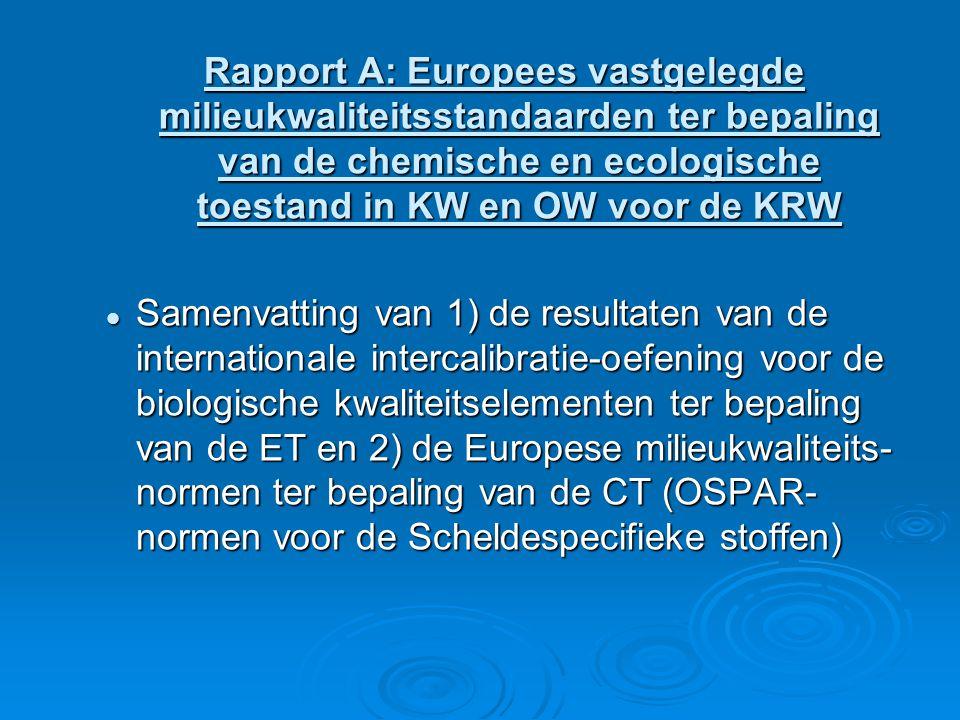 Rapport A: Europees vastgelegde milieukwaliteitsstandaarden ter bepaling van de chemische en ecologische toestand in KW en OW voor de KRW Samenvatting van 1) de resultaten van de internationale intercalibratie-oefening voor de biologische kwaliteitselementen ter bepaling van de ET en 2) de Europese milieukwaliteits- normen ter bepaling van de CT (OSPAR- normen voor de Scheldespecifieke stoffen) Samenvatting van 1) de resultaten van de internationale intercalibratie-oefening voor de biologische kwaliteitselementen ter bepaling van de ET en 2) de Europese milieukwaliteits- normen ter bepaling van de CT (OSPAR- normen voor de Scheldespecifieke stoffen)