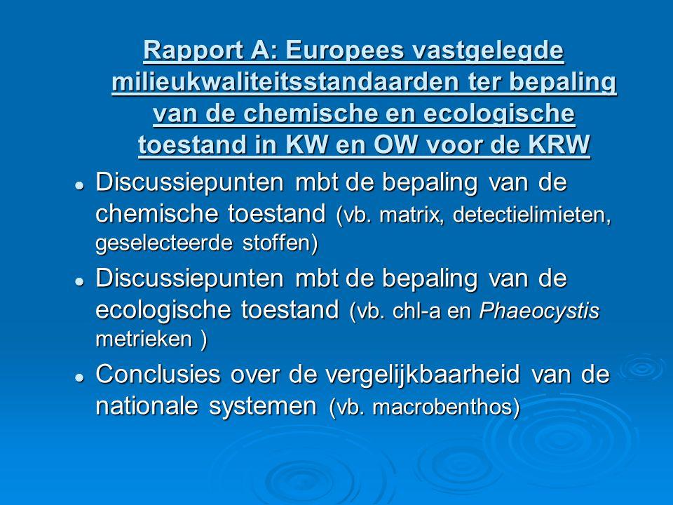 Rapport A: Europees vastgelegde milieukwaliteitsstandaarden ter bepaling van de chemische en ecologische toestand in KW en OW voor de KRW Discussiepunten mbt de bepaling van de chemische toestand (vb.