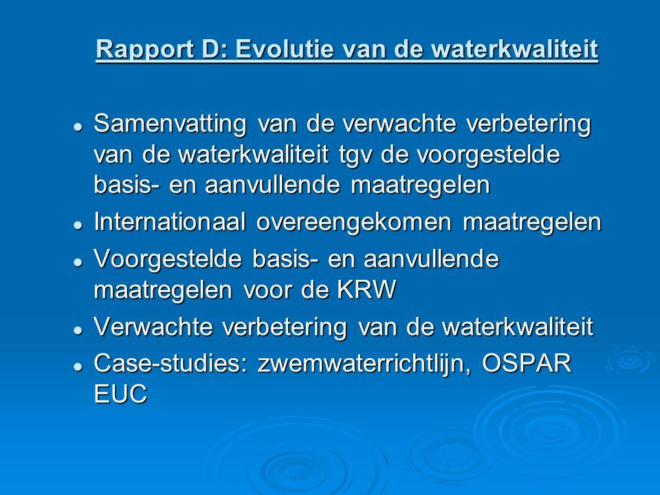 Rapport D: Evolutie van de waterkwaliteit Samenvatting van de verwachte verbetering van de waterkwaliteit tgv de voorgestelde basis- en aanvullende maatregelen Samenvatting van de verwachte verbetering van de waterkwaliteit tgv de voorgestelde basis- en aanvullende maatregelen Internationaal overeengekomen maatregelen Internationaal overeengekomen maatregelen Voorgestelde basis- en aanvullende maatregelen voor de KRW Voorgestelde basis- en aanvullende maatregelen voor de KRW Verwachte verbetering van de waterkwaliteit Verwachte verbetering van de waterkwaliteit Case-studies: zwemwaterrichtlijn, OSPAR EUC Case-studies: zwemwaterrichtlijn, OSPAR EUC
