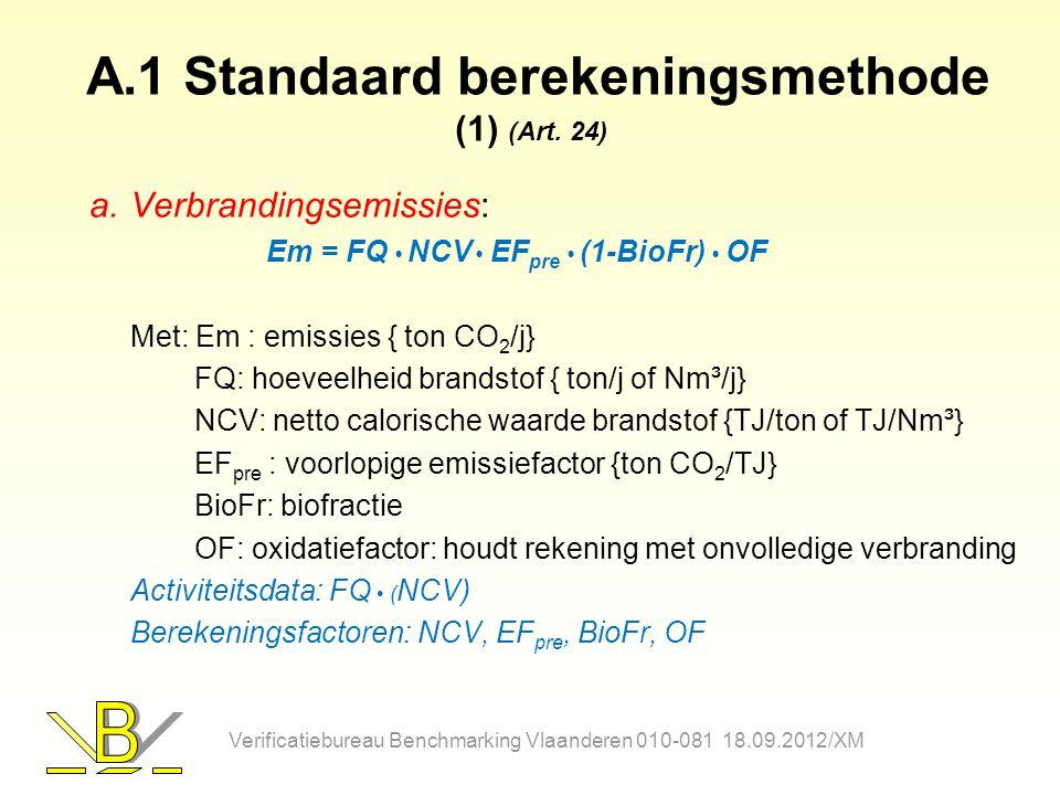 A.1 Standaard berekeningsmethode (1) (Art. 24) a.Verbrandingsemissies: Em = FQ NCV EF pre (1-BioFr) OF Met: Em : emissies { ton CO 2 /j} FQ: hoeveelhe