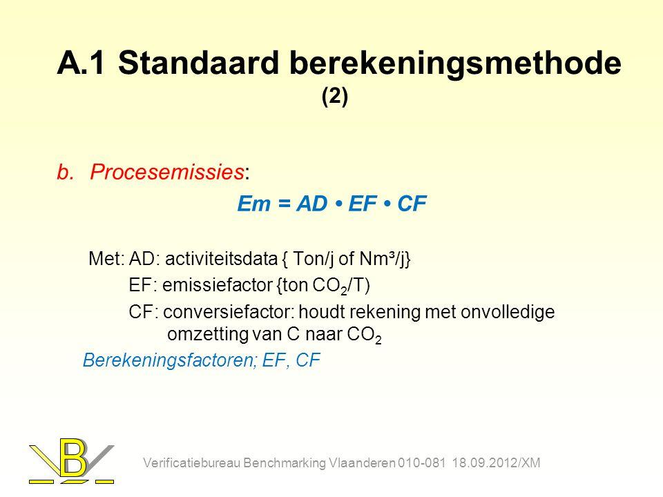 A.1 Standaard berekeningsmethode (2) b.Procesemissies: Em = AD EF CF Met: AD: activiteitsdata { Ton/j of Nm³/j} EF: emissiefactor {ton CO 2 /T) CF: conversiefactor: houdt rekening met onvolledige omzetting van C naar CO 2 Berekeningsfactoren; EF, CF Verificatiebureau Benchmarking Vlaanderen 010-081 18.09.2012/XM