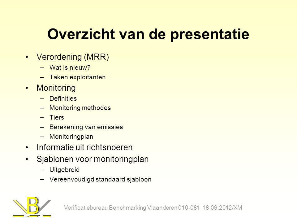 Overzicht van de presentatie Verordening (MRR) –Wat is nieuw? –Taken exploitanten Monitoring –Definities –Monitoring methodes –Tiers –Berekening van e