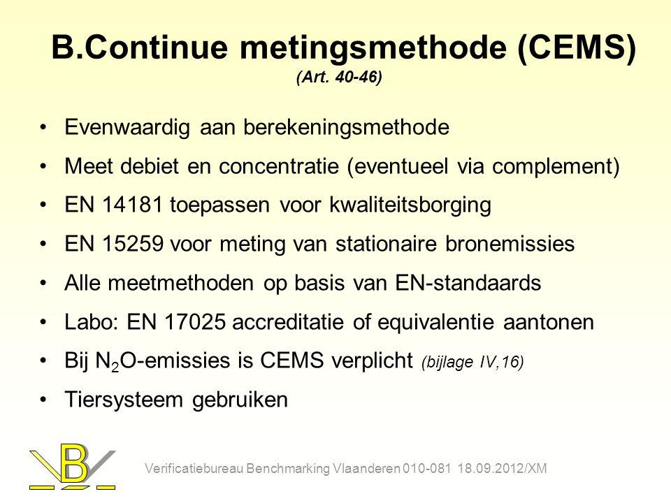B.Continue metingsmethode (CEMS) (Art. 40-46) Evenwaardig aan berekeningsmethode Meet debiet en concentratie (eventueel via complement) EN 14181 toepa