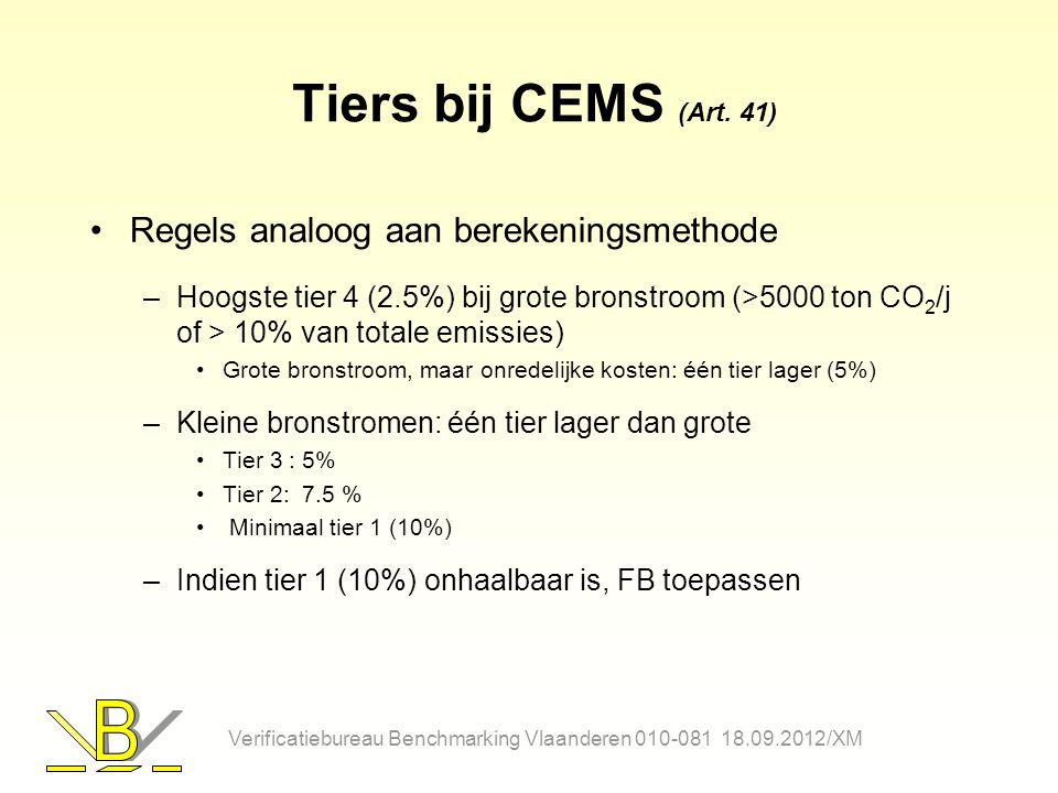 Tiers bij CEMS (Art. 41) Regels analoog aan berekeningsmethode –Hoogste tier 4 (2.5%) bij grote bronstroom (>5000 ton CO 2 /j of > 10% van totale emis