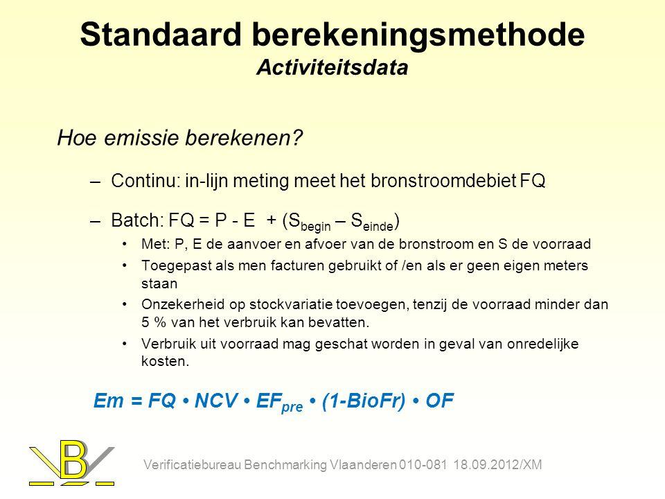 Standaard berekeningsmethode Activiteitsdata Hoe emissie berekenen? –Continu: in-lijn meting meet het bronstroomdebiet FQ –Batch: FQ = P - E + (S begi