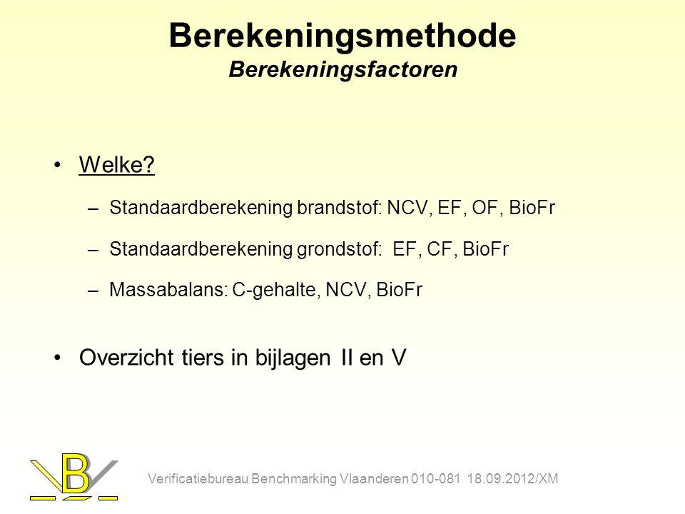 Berekeningsmethode Berekeningsfactoren Welke? –Standaardberekening brandstof: NCV, EF, OF, BioFr –Standaardberekening grondstof: EF, CF, BioFr –Massab