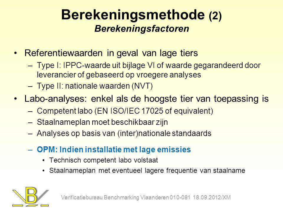 Berekeningsmethode (2) Berekeningsfactoren Referentiewaarden in geval van lage tiers –Type I: IPPC-waarde uit bijlage VI of waarde gegarandeerd door l