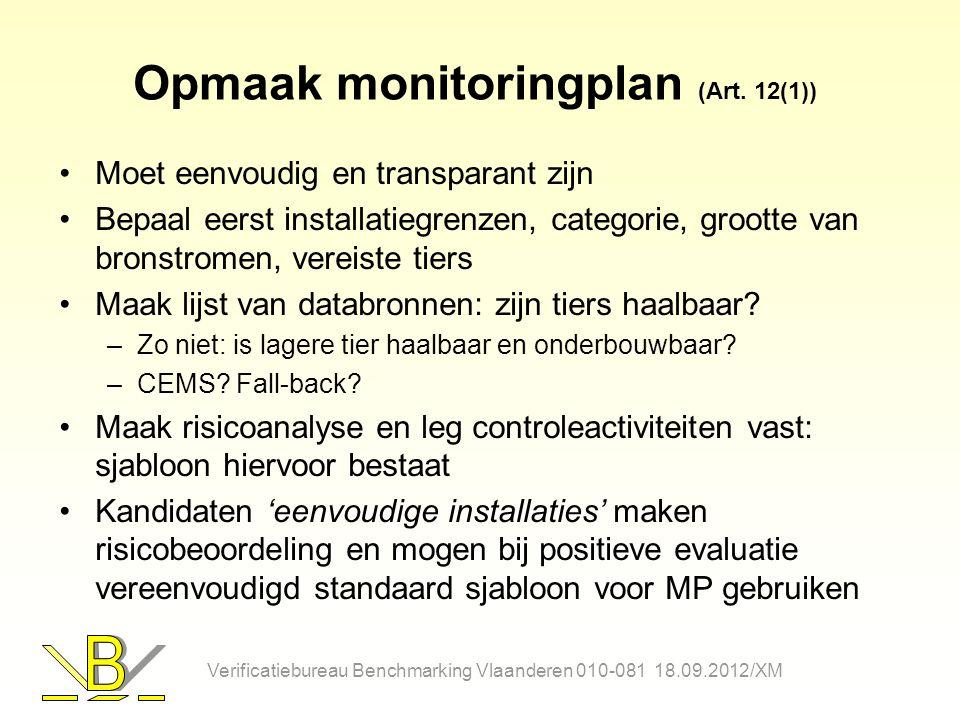 Opmaak monitoringplan (Art. 12(1)) Moet eenvoudig en transparant zijn Bepaal eerst installatiegrenzen, categorie, grootte van bronstromen, vereiste ti