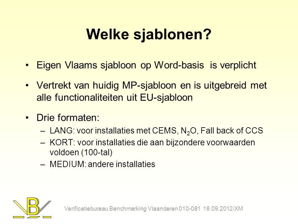 Welke sjablonen? Eigen Vlaams sjabloon op Word-basis is verplicht Vertrekt van huidig MP-sjabloon en is uitgebreid met alle functionaliteiten uit EU-s