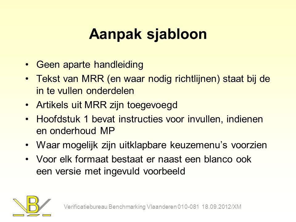 Aanpak sjabloon Geen aparte handleiding Tekst van MRR (en waar nodig richtlijnen) staat bij de in te vullen onderdelen Artikels uit MRR zijn toegevoeg