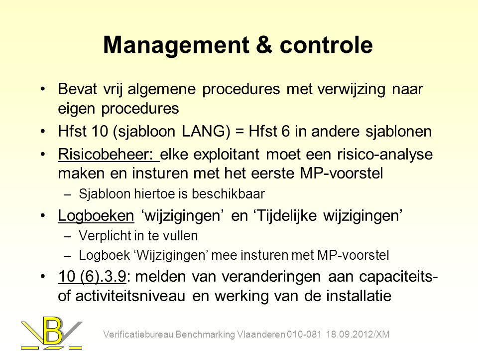 Management & controle Bevat vrij algemene procedures met verwijzing naar eigen procedures Hfst 10 (sjabloon LANG) = Hfst 6 in andere sjablonen Risicob
