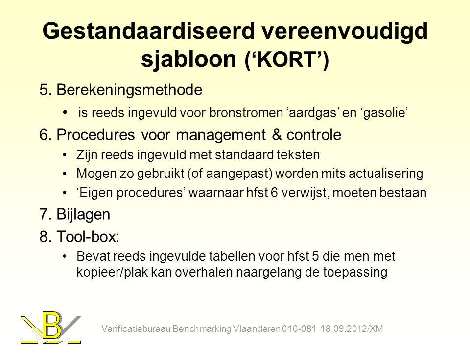 Gestandaardiseerd vereenvoudigd sjabloon ('KORT') 5. Berekeningsmethode is reeds ingevuld voor bronstromen 'aardgas' en 'gasolie' 6. Procedures voor m