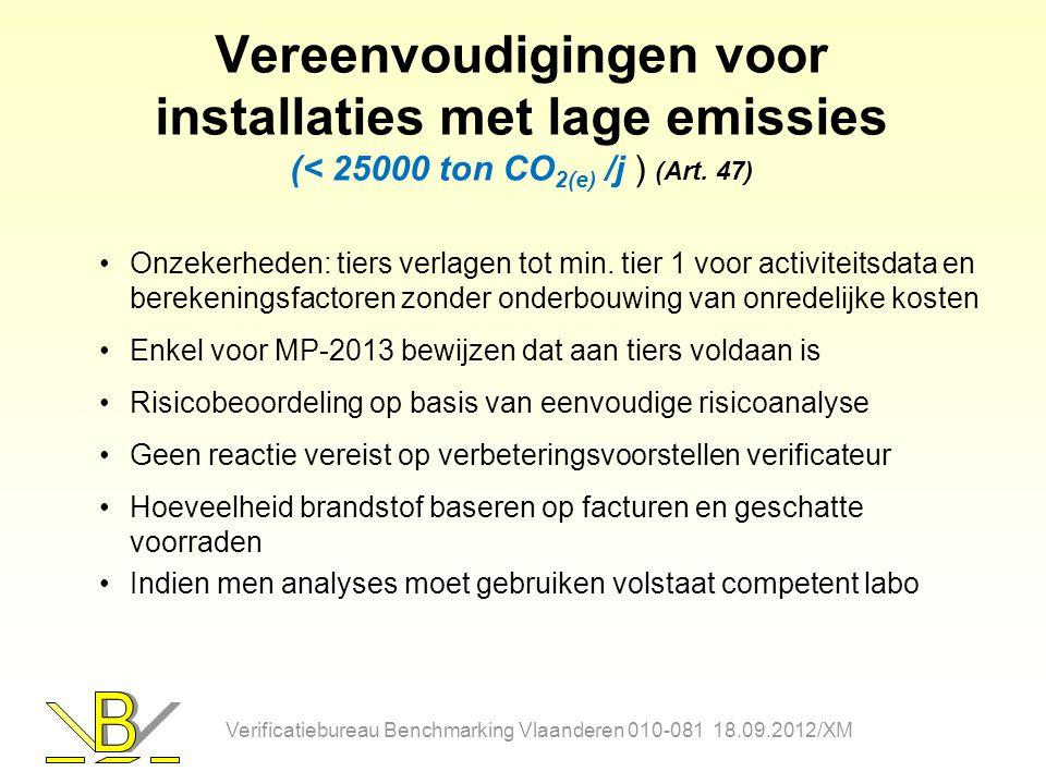 Vereenvoudigingen voor installaties met lage emissies (< 25000 ton CO 2(e) /j ) (Art. 47) Onzekerheden: tiers verlagen tot min. tier 1 voor activiteit