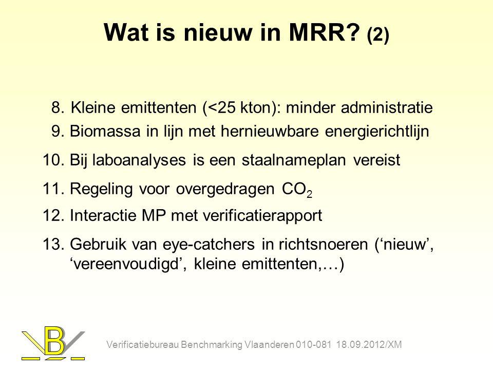 Wat is nieuw in MRR? (2) 8.Kleine emittenten (<25 kton): minder administratie 9.Biomassa in lijn met hernieuwbare energierichtlijn 10.Bij laboanalyses