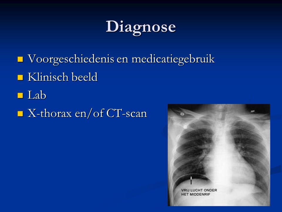 Diagnose Voorgeschiedenis en medicatiegebruik Voorgeschiedenis en medicatiegebruik Klinisch beeld Klinisch beeld Lab Lab X-thorax en/of CT-scan X-thor