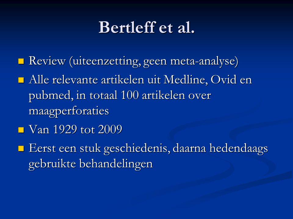 Bertleff et al. Review (uiteenzetting, geen meta-analyse) Review (uiteenzetting, geen meta-analyse) Alle relevante artikelen uit Medline, Ovid en pubm