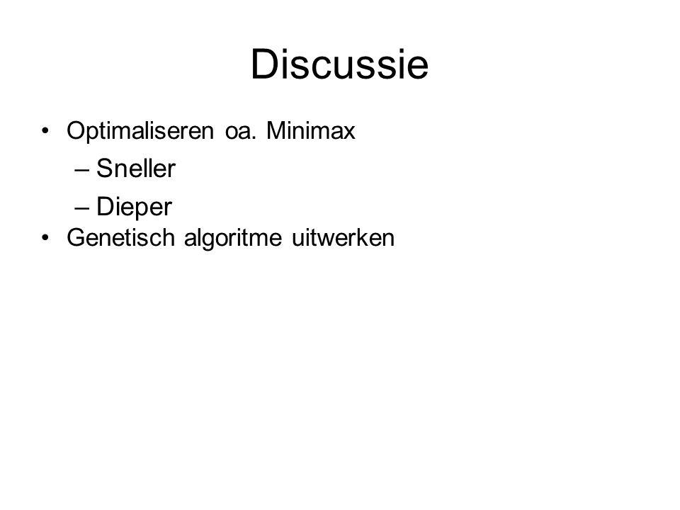 Discussie Optimaliseren oa. Minimax –Sneller –Dieper Genetisch algoritme uitwerken