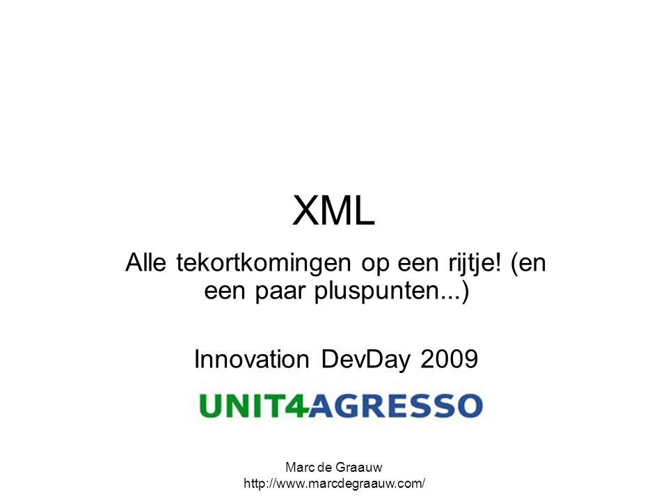 Marc de Graauw http://www.marcdegraauw.com/ XML Alle tekortkomingen op een rijtje! (en een paar pluspunten...) Innovation DevDay 2009