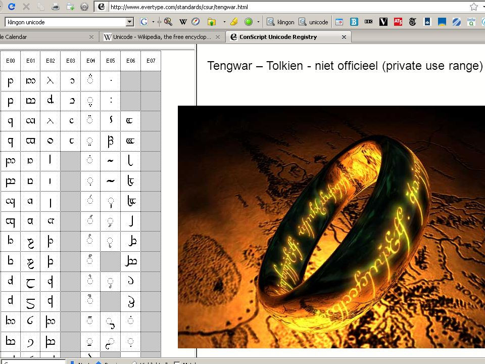 Marc de Graauw http://www.marcdegraauw.com/ Tengwar – Tolkien - niet officieel (private use range)