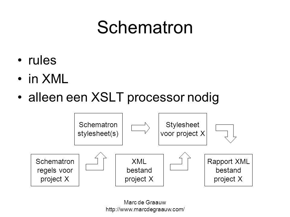 Marc de Graauw http://www.marcdegraauw.com/ Schematron rules in XML alleen een XSLT processor nodig Schematron regels voor project X Stylesheet voor p
