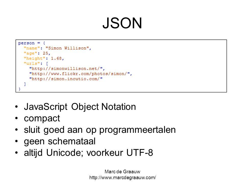 Marc de Graauw http://www.marcdegraauw.com/ JSON JavaScript Object Notation compact sluit goed aan op programmeertalen geen schemataal altijd Unicode;