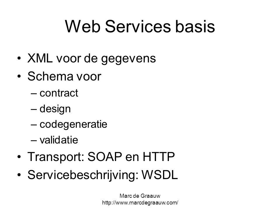 Marc de Graauw http://www.marcdegraauw.com/ Web Services basis XML voor de gegevens Schema voor –contract –design –codegeneratie –validatie Transport: