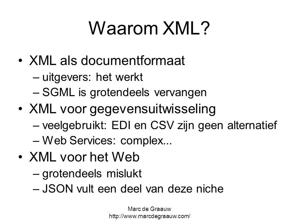 Marc de Graauw http://www.marcdegraauw.com/ Waarom XML? XML als documentformaat –uitgevers: het werkt –SGML is grotendeels vervangen XML voor gegevens