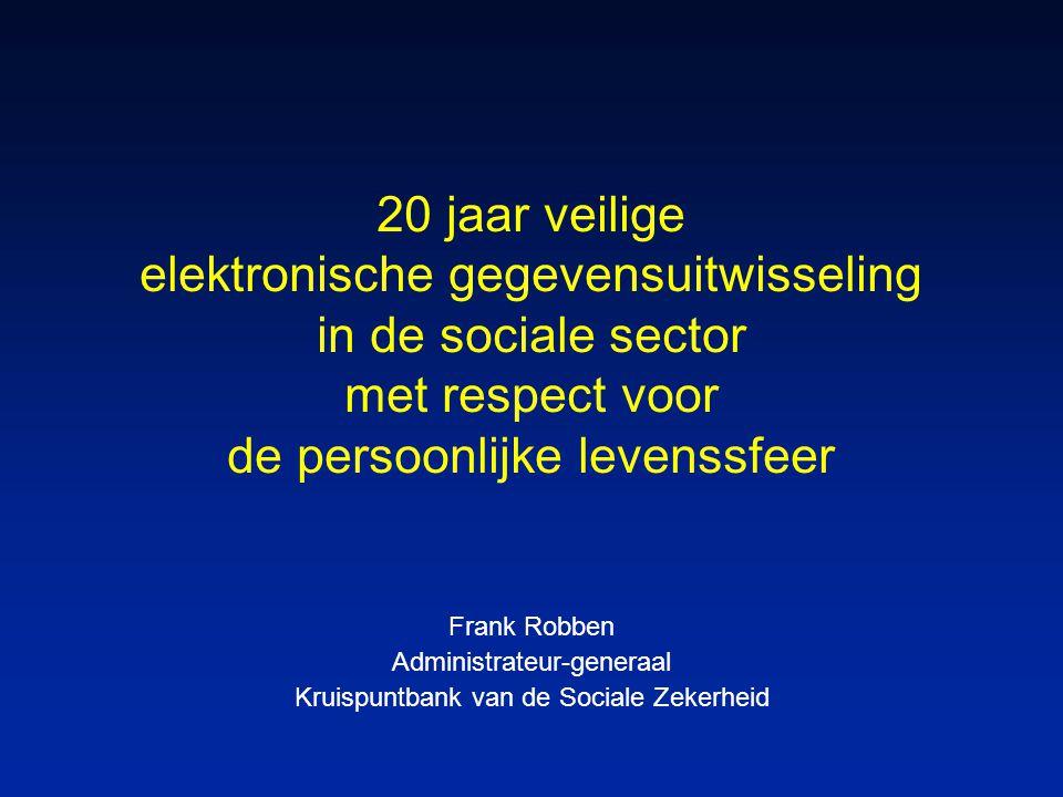 20 jaar veilige elektronische gegevensuitwisseling in de sociale sector met respect voor de persoonlijke levenssfeer Frank Robben Administrateur-generaal Kruispuntbank van de Sociale Zekerheid