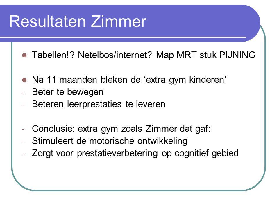 Resultaten Zimmer Tabellen!? Netelbos/internet? Map MRT stuk PIJNING Na 11 maanden bleken de 'extra gym kinderen' - Beter te bewegen - Beteren leerpre