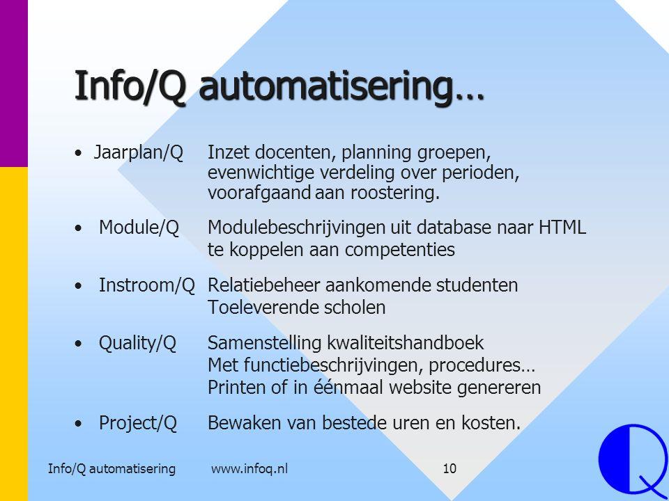 Info/Q automatisering www.infoq.nl10 Info/Q automatisering… Module/QModulebeschrijvingen uit database naar HTML te koppelen aan competenties Instroom/