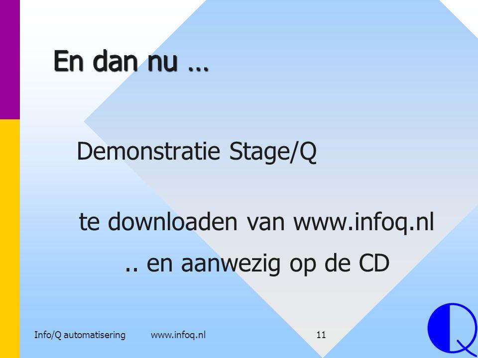 Info/Q automatisering www.infoq.nl11 En dan nu … Demonstratie Stage/Q te downloaden van www.infoq.nl.. en aanwezig op de CD