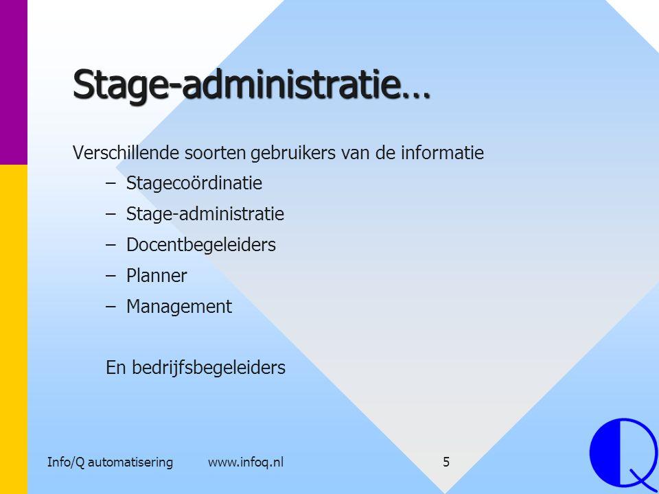 Info/Q automatisering www.infoq.nl5 Stage-administratie… Verschillende soorten gebruikers van de informatie – –Stagecoördinatie – –Stage-administratie
