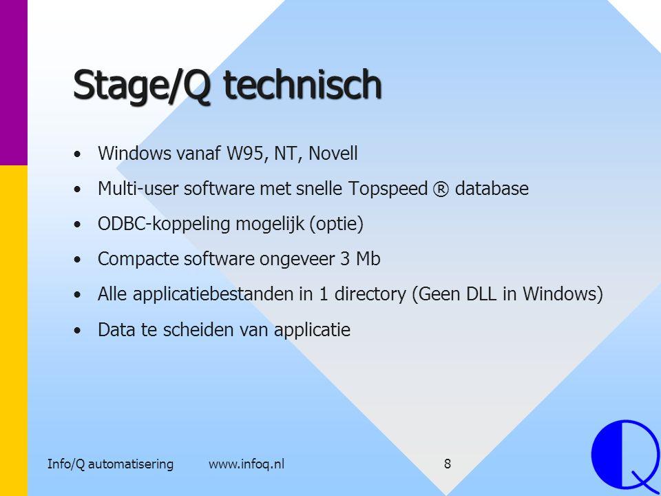 Info/Q automatisering www.infoq.nl8 Stage/Q technisch Windows vanaf W95, NT, Novell Multi-user software met snelle Topspeed ® database ODBC-koppeling