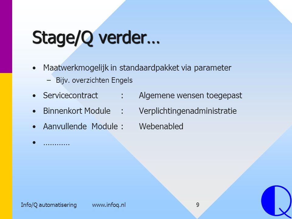 Info/Q automatisering www.infoq.nl10 Info/Q automatisering… Module/QModulebeschrijvingen uit database naar HTML te koppelen aan competenties Instroom/QRelatiebeheer aankomende studenten Toeleverende scholen Quality/QSamenstelling kwaliteitshandboek Met functiebeschrijvingen, procedures… Printen of in éénmaal website genereren Project/Q Bewaken van bestede uren en kosten.