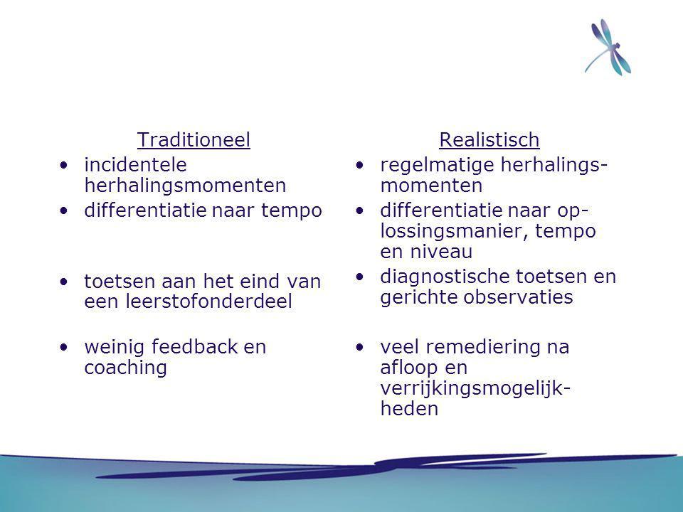 Traditioneel incidentele herhalingsmomenten differentiatie naar tempo toetsen aan het eind van een leerstofonderdeel weinig feedback en coaching Reali