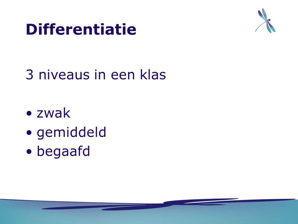 Differentiatie 3 niveaus in een klas zwak gemiddeld begaafd