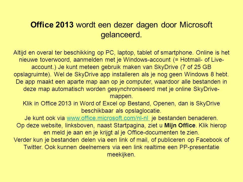 Office 2013 wordt een dezer dagen door Microsoft gelanceerd. Altijd en overal ter beschikking op PC, laptop, tablet of smartphone. Online is het nieuw