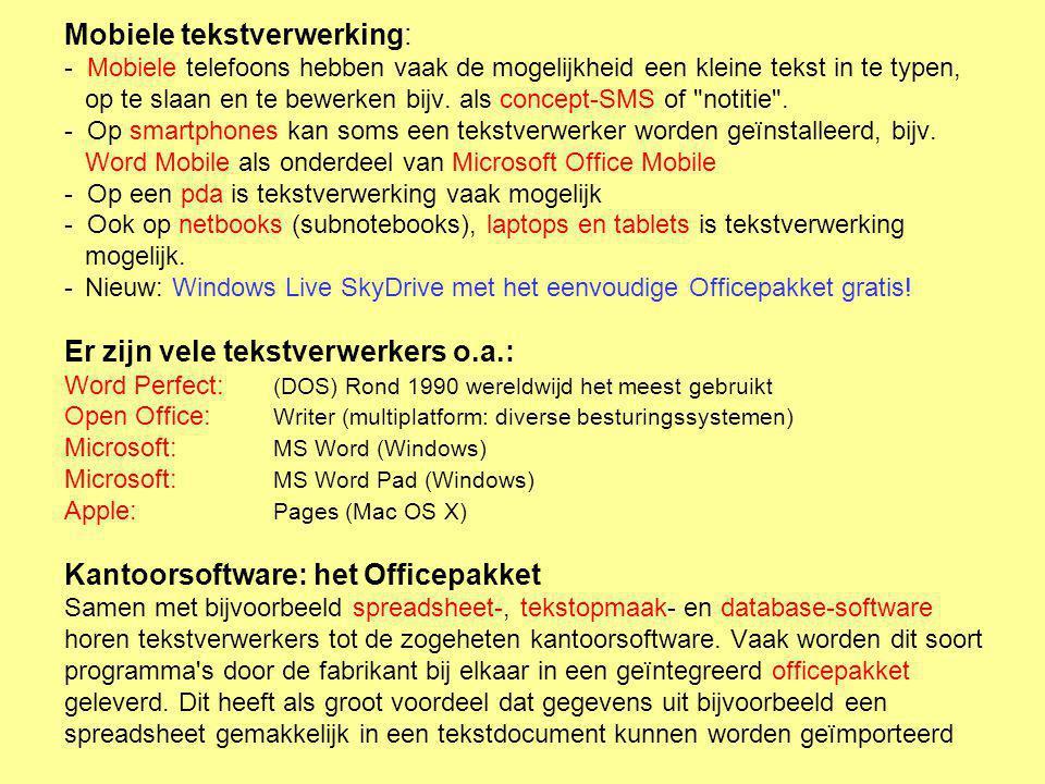 Sky Drive Al je apparaten synchroniseren en alles is altijd en overal bereikbaar Nodig is een Microsoft-account: Online versie: gratis Office-pakket www.office.live.com www.office.live.com Als de link niet werkt, Klik er rechts op en kies Hyperlink openen Inloggen met uw Microsoft-account en je hebt de beschikking over Word, Excel en PowerPoint in Windows Live SkyDrive Ondersteuning voor Internet Explorer, maar ook voor Firefox en Safari.