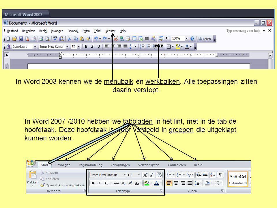 In Word 2003 kennen we de menubalk en werkbalken. Alle toepassingen zitten daarin verstopt. In Word 2007 /2010 hebben we tabbladen in het lint, met in