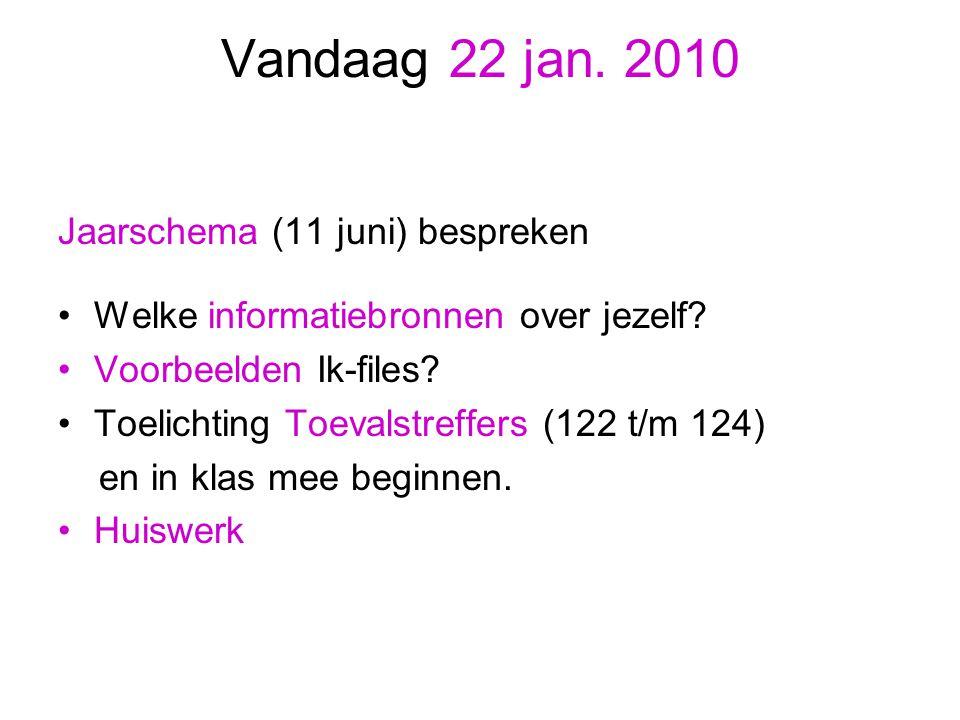 Vandaag 22 jan. 2010 Jaarschema (11 juni) bespreken Welke informatiebronnen over jezelf? Voorbeelden Ik-files? Toelichting Toevalstreffers (122 t/m 12
