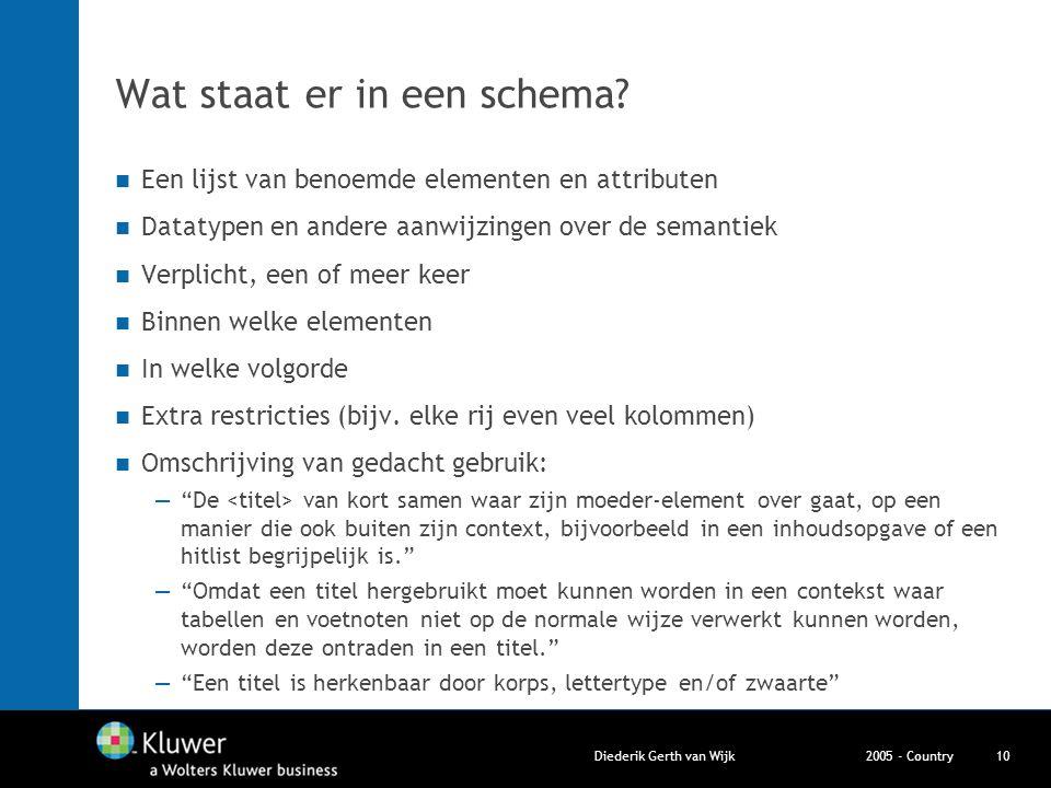 2005 - CountryDiederik Gerth van Wijk10 Wat staat er in een schema? Een lijst van benoemde elementen en attributen Datatypen en andere aanwijzingen ov