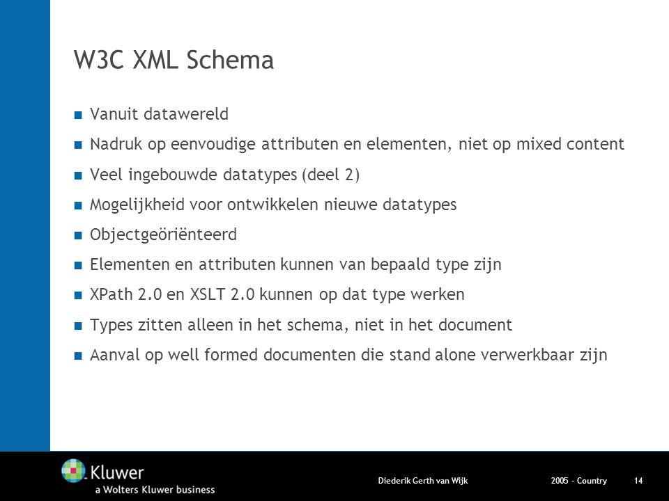 2005 - CountryDiederik Gerth van Wijk14 W3C XML Schema Vanuit datawereld Nadruk op eenvoudige attributen en elementen, niet op mixed content Veel inge