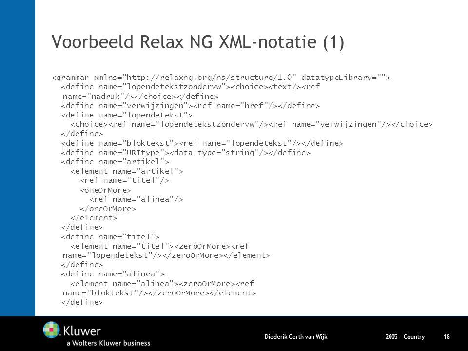 2005 - CountryDiederik Gerth van Wijk18 Voorbeeld Relax NG XML-notatie (1)