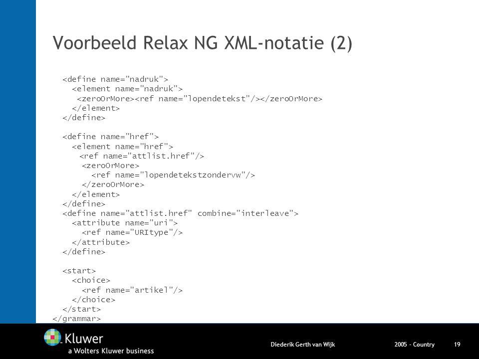 2005 - CountryDiederik Gerth van Wijk19 Voorbeeld Relax NG XML-notatie (2)