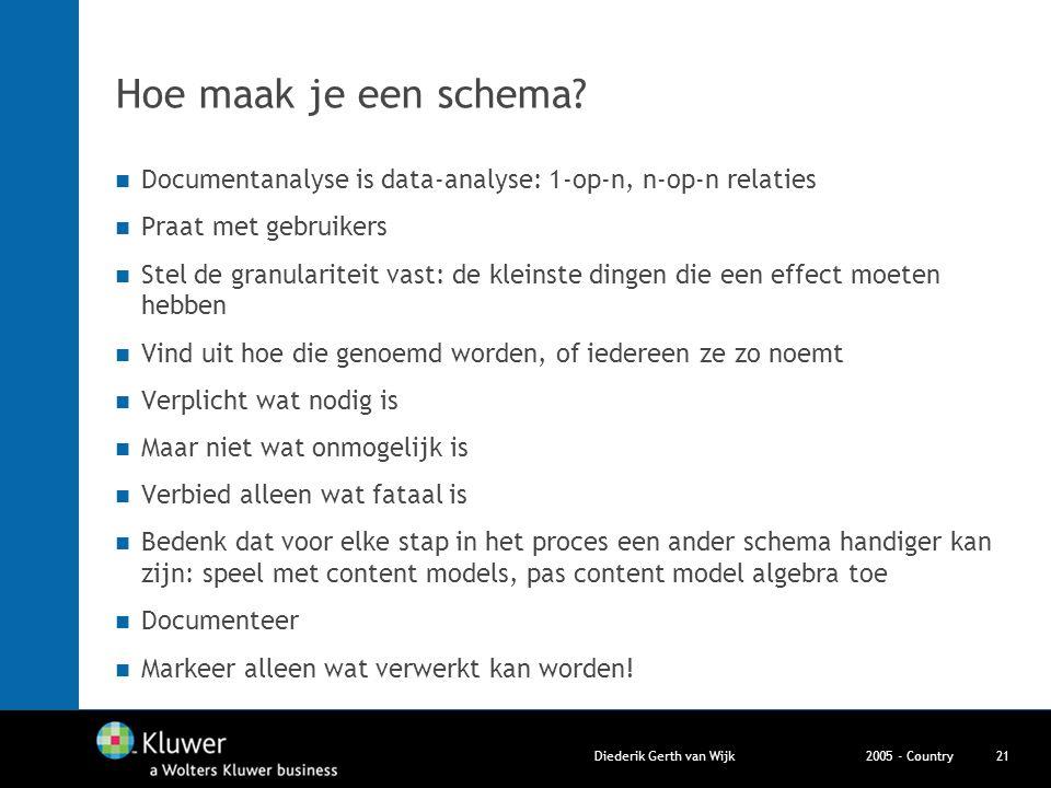 2005 - CountryDiederik Gerth van Wijk21 Hoe maak je een schema? Documentanalyse is data-analyse: 1-op-n, n-op-n relaties Praat met gebruikers Stel de