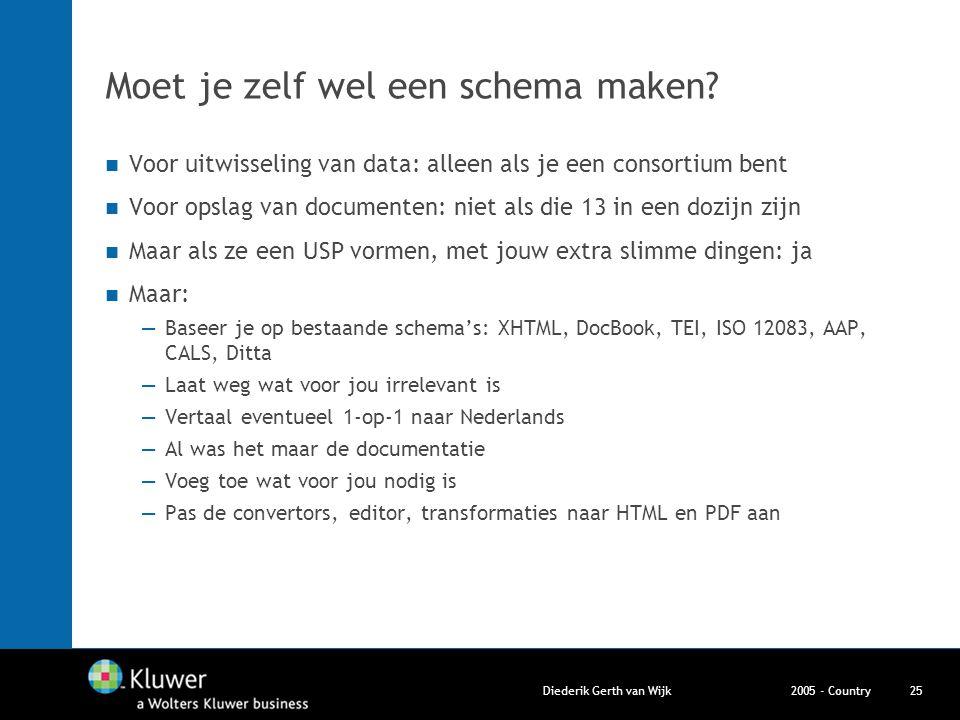2005 - CountryDiederik Gerth van Wijk25 Moet je zelf wel een schema maken? Voor uitwisseling van data: alleen als je een consortium bent Voor opslag v