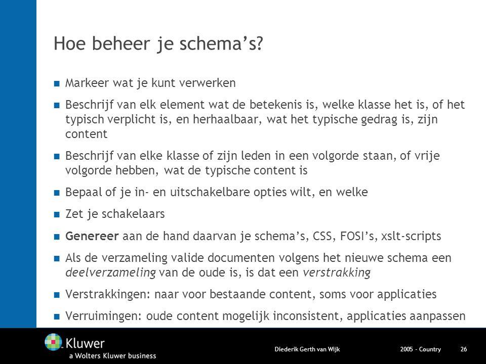 2005 - CountryDiederik Gerth van Wijk26 Hoe beheer je schema's? Markeer wat je kunt verwerken Beschrijf van elk element wat de betekenis is, welke kla