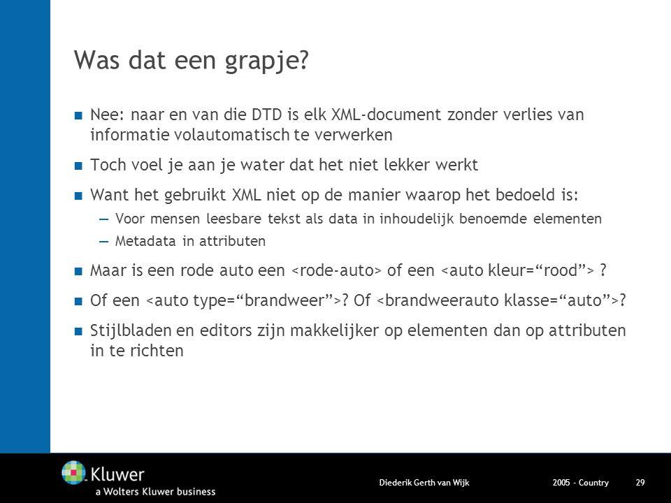 2005 - CountryDiederik Gerth van Wijk29 Was dat een grapje? Nee: naar en van die DTD is elk XML-document zonder verlies van informatie volautomatisch