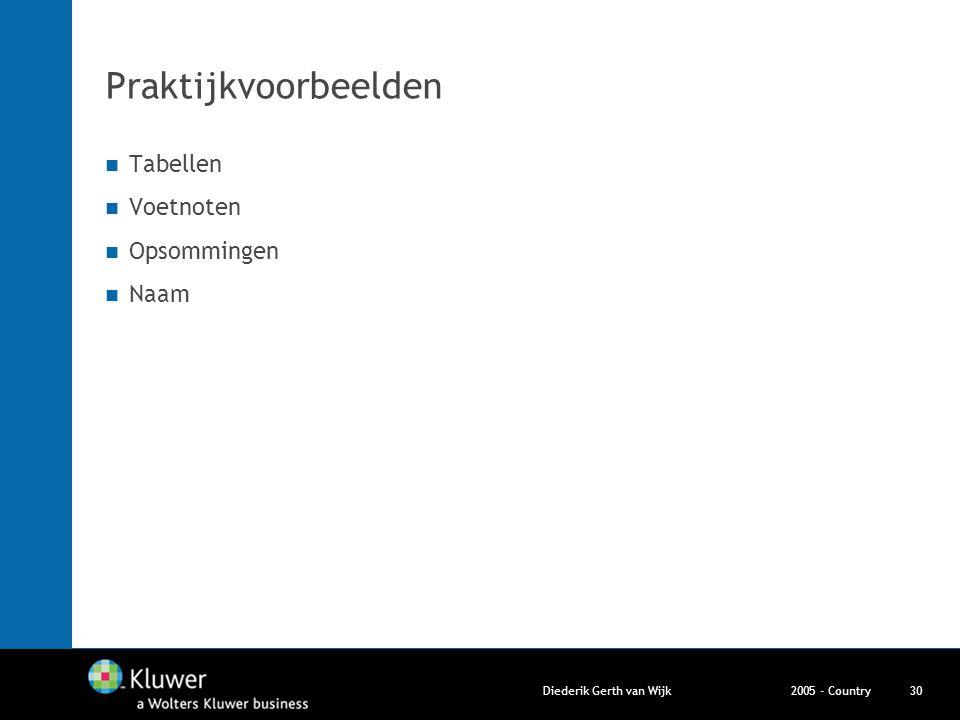 2005 - CountryDiederik Gerth van Wijk30 Praktijkvoorbeelden Tabellen Voetnoten Opsommingen Naam